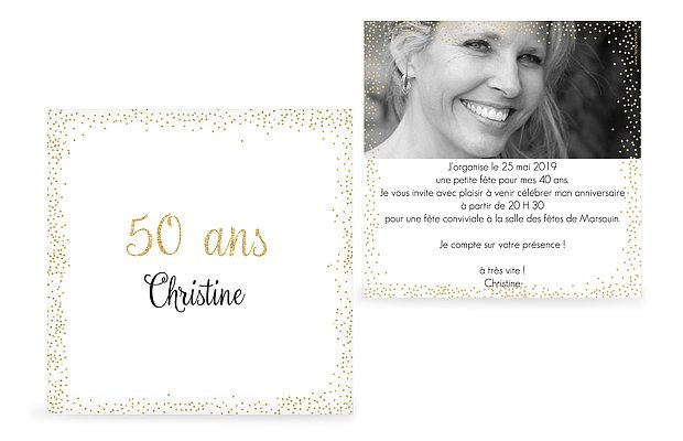 invitation anniversaire 50 Pluie féerique