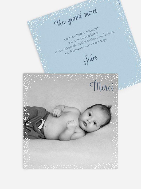 Carte remerciement naissance Pluie féerique
