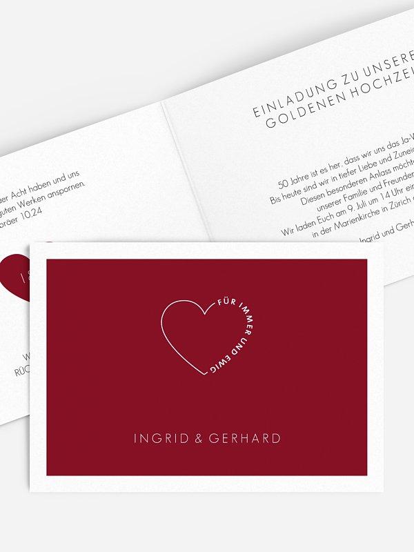 Einladung zur Goldenen Hochzeit Herzensworte