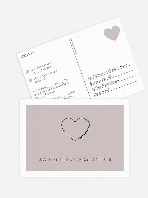 Antwortkarte Hochzeit Herzensworte