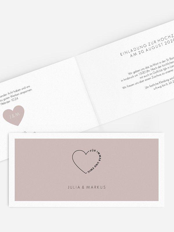 Hochzeitseinladung Herzensworte