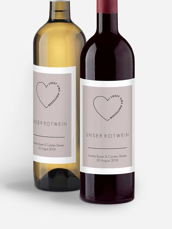 Flaschenetikett Hochzeit Herzensworte