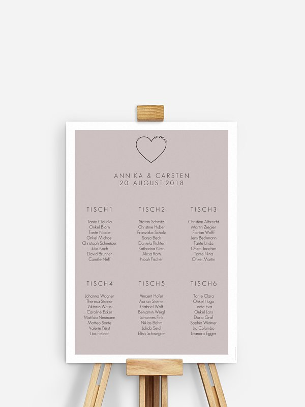 Sitzplan Plakat Herzensworte