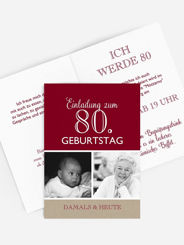 Geburtstag individuelle Einladungskarten Einladungen damals und heute Runder 50