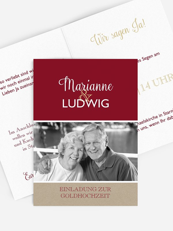 Einladung zur Goldenen Hochzeit Mixed Up
