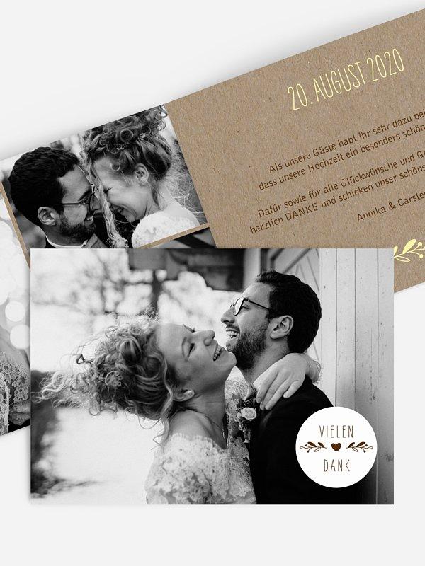 Dankeskarte Hochzeit Floral Wreath Kraftpapier