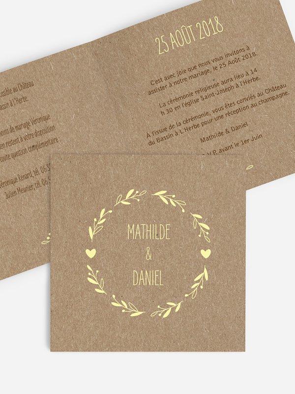 Faire-part mariage Bohème papier kraft