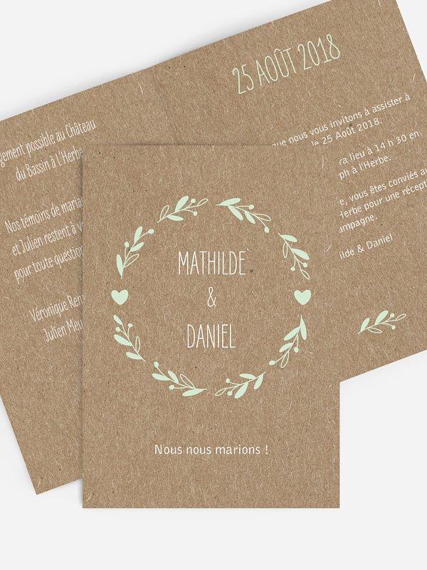 Faire-part mariage Bohème pour papier kraft