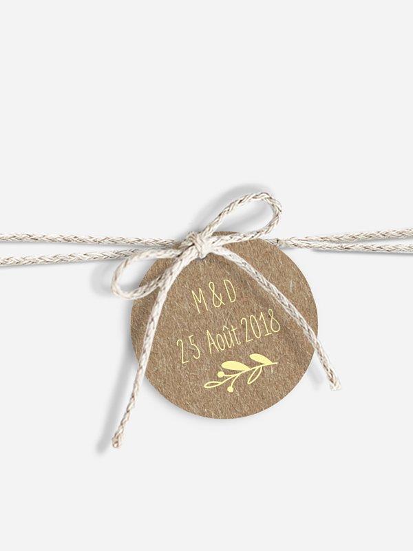 Étiquette avec ruban Bohème papier kraft