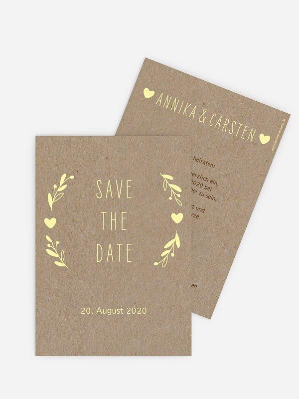 Save-the-Date Karte Floral Wreath Kraftpapier