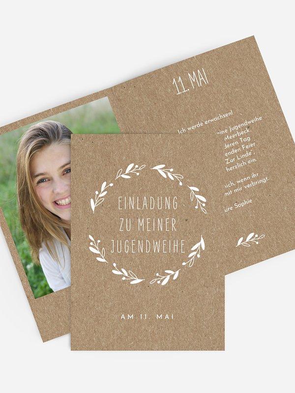 Einladung Jugendweihe Floral Wreath Kraftpapier
