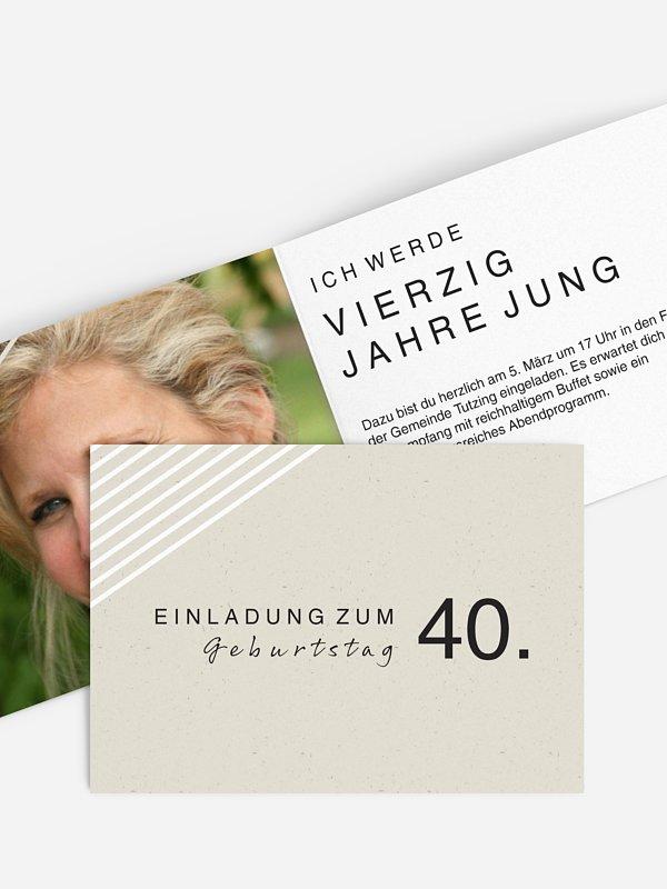 """einladungskarten 40. geburtstag """"modern lines"""""""
