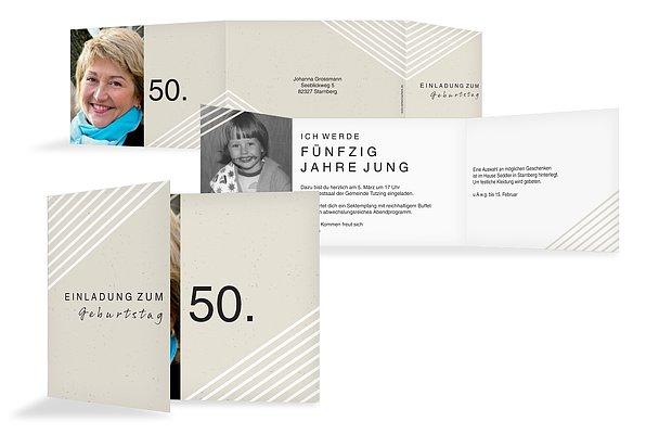 Einladung 50. Geburtstag Modern Lines