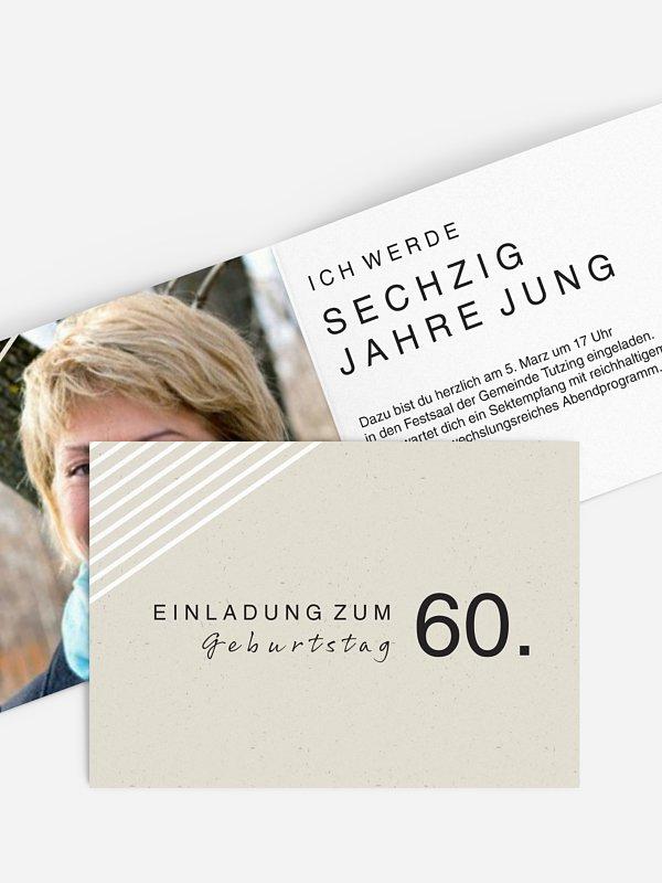 Einladung 60. Geburtstag Modern Lines