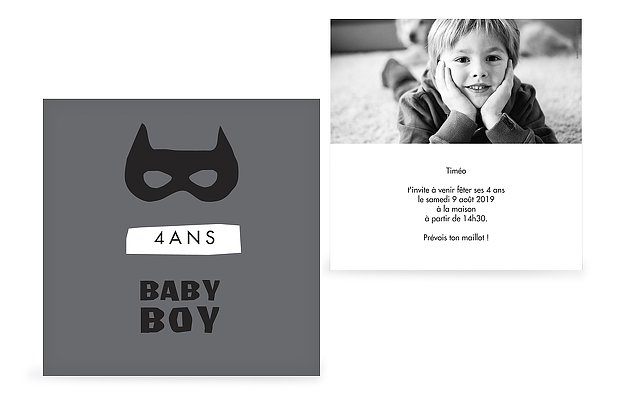 invitation anniversaire enfant Super baby boy