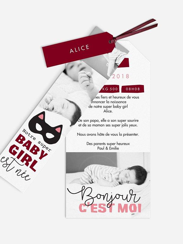 Faire-part naissance Super baby girl