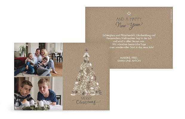weihnachtskarte bescherung kraftpapier. Black Bedroom Furniture Sets. Home Design Ideas