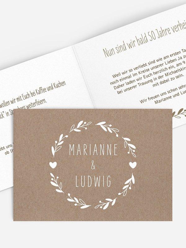 Einladung zur Goldenen Hochzeit Floral Wreath