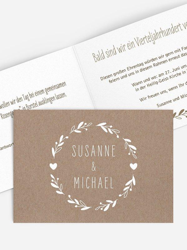 Einladung zur Silberhochzeit Floral Wreath