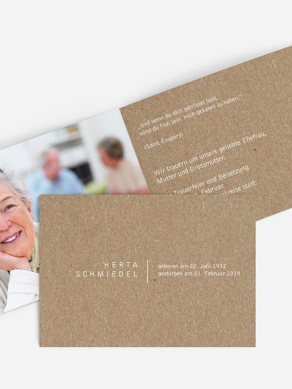 Trauerkarte Freiraum Kraftpapier