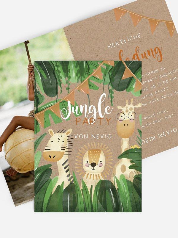 Kindergeburtstagseinladung Jungletrio