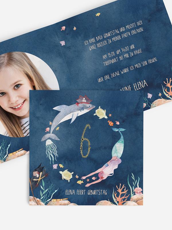 Kindergeburtstagseinladung Mermaids and Pirates