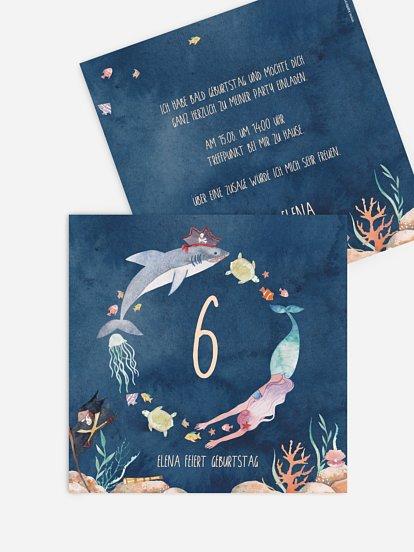 """Kindergeburtstagseinladung """"Mermaids and Pirates"""""""