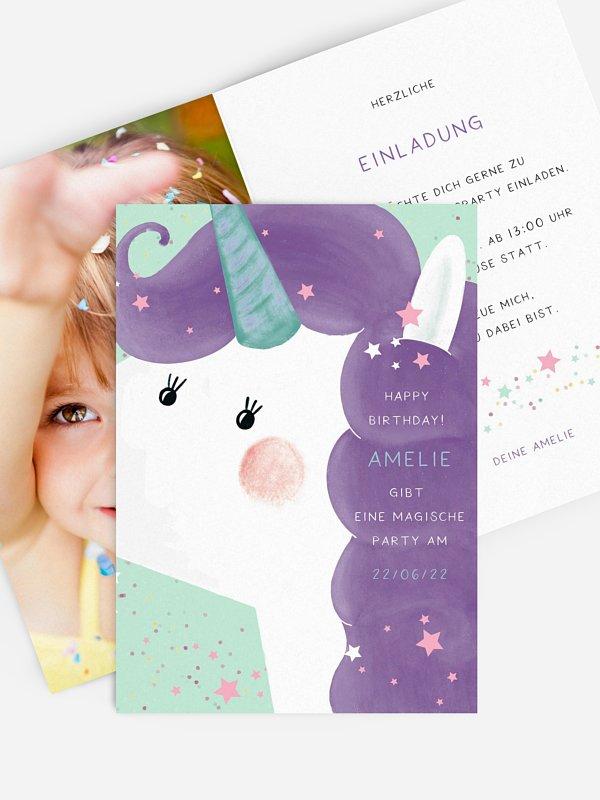 Kindergeburtstagseinladung Sparkle Unicorn