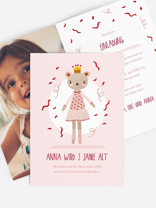 Kindergeburtstagseinladung Princess Teddy