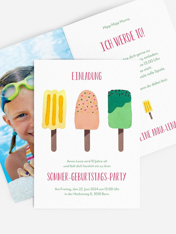 Kindergeburtstagseinladung Popsicles