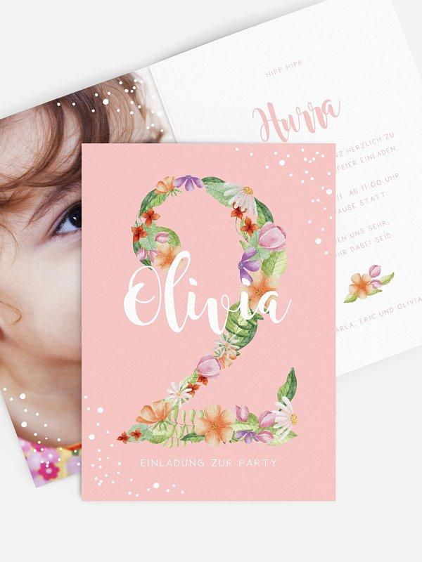Kindergeburtstagseinladung Floral Two
