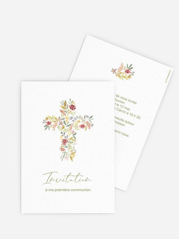 Invitation communion Croix fleurie
