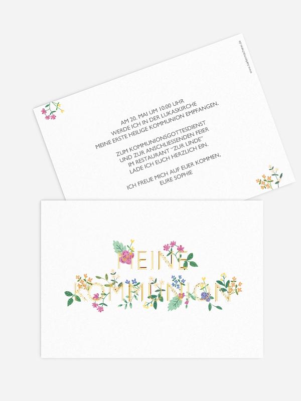 Kommunionseinladung Flower Font