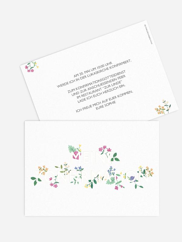 Konfirmationseinladung Flower Font