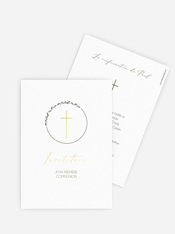 Invitation communion Croix chic