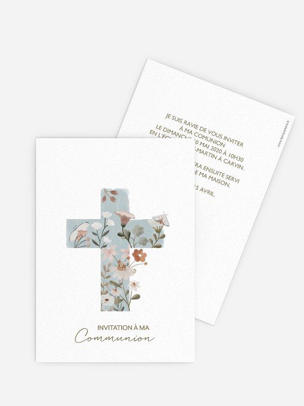 Invitation communion Croix de fleurs