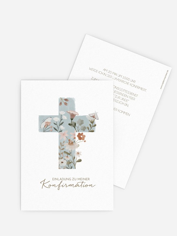 Konfirmationseinladung Heilige Blütenpracht