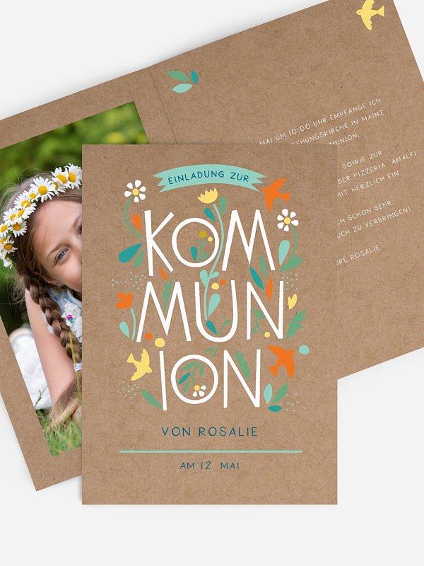 Kommunionseinladung Floral Letters