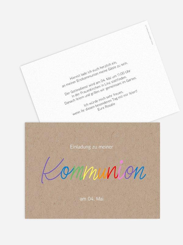 Kommunionseinladung Rainbow Colors