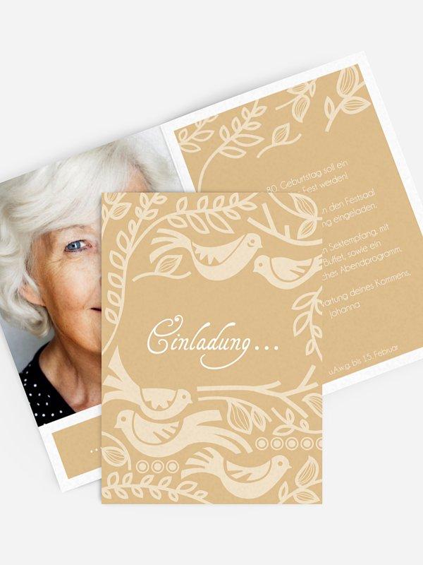 Einladung 80. Geburtstag Birdsong