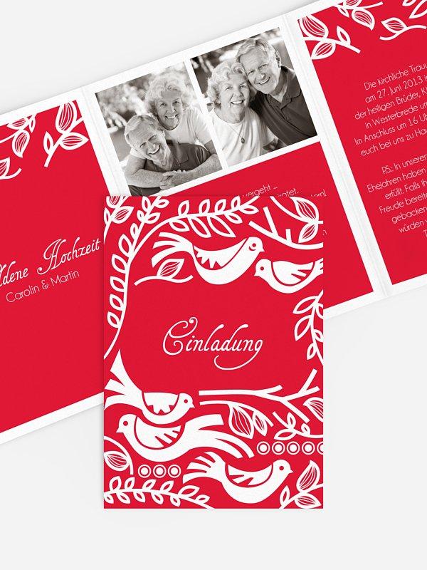 Einladung zur Goldenen Hochzeit Birdsong
