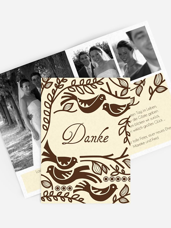 Dankeskarte Hochzeit Birdsong