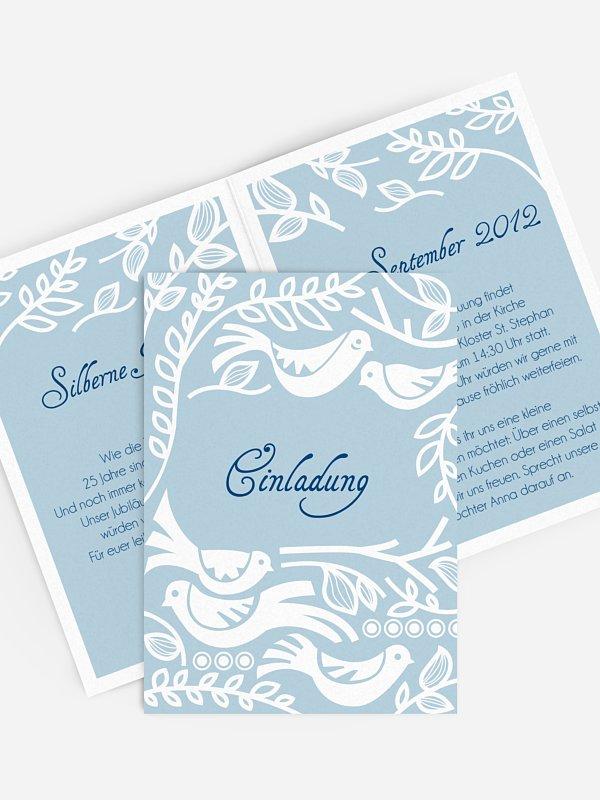 Einladung zur Silberhochzeit Birdsong