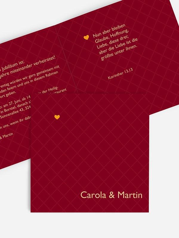 Einladung zur Goldenen Hochzeit Herzchen