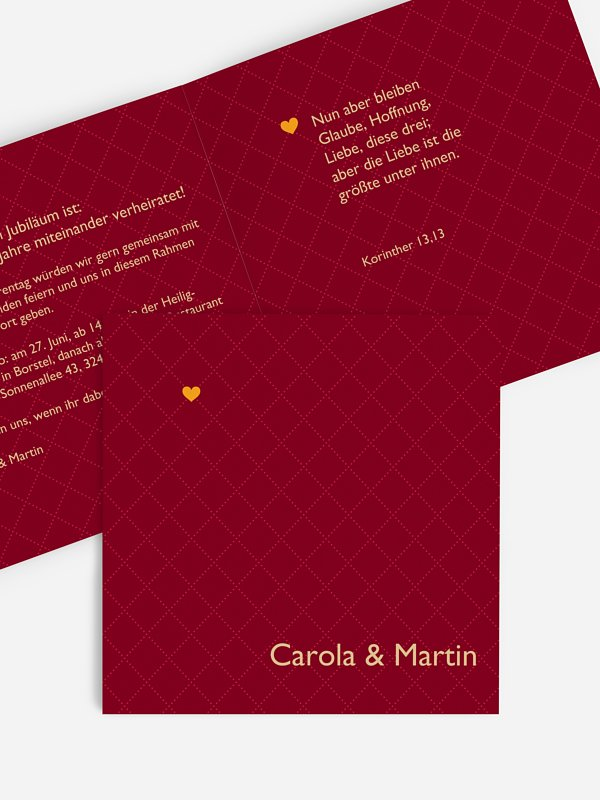 Einladung zur Silberhochzeit Herzchen