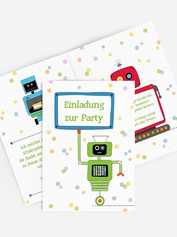 Kindergeburtstagseinladung Roboter