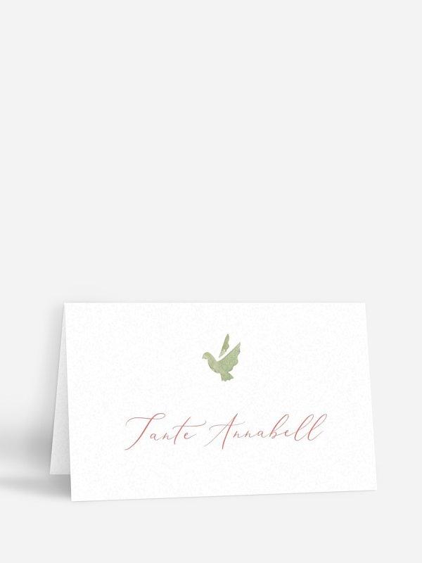 Tischkarte Taufe Blumenkreuz