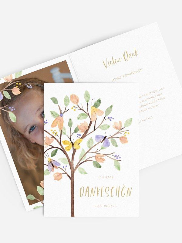 Danksagung Kommunion Butterfly Tree
