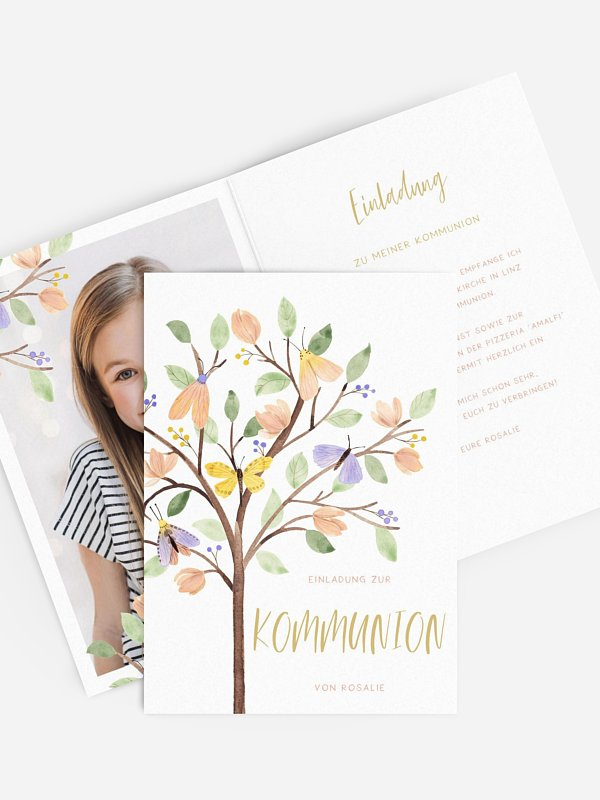Kommunionseinladung Butterfly Tree