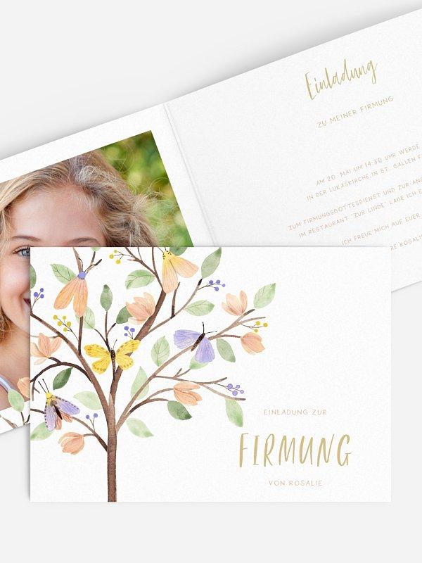 Einladung Firmung Butterfly Tree